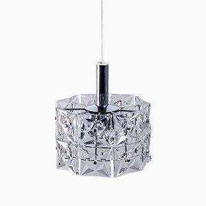 Lámpara de araña vintage geométrica con prismas de cristal de Kinkeldey
