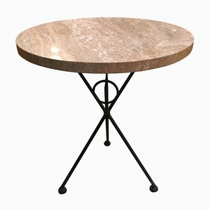 Vintage Italian Tripod Table with Marble Top, 1960s