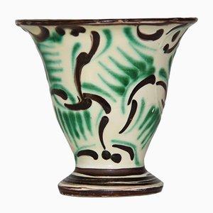 Jarrón vintage de cerámica verde de Kähler