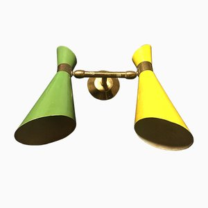 Italian Green & Yellow Double Cone Lamp, 1950s