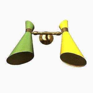 Lámpara italiana en amarillo y verde de doble cono, años 50