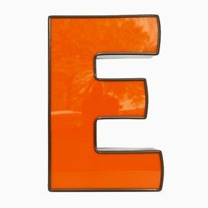 Lettre E Lumineuse Vintage Orange et Marron