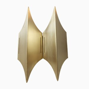 Danish Modernist Sculptural Gothic II Brass Sconce from Lyfa, 1960s