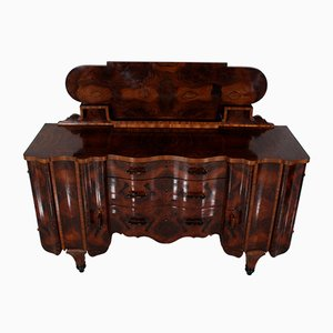 Bufé Art Déco vintage de madera nudosa con tablero negro