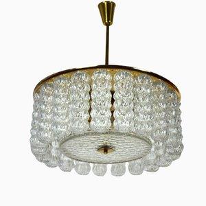 Lampada da soffitto in ottone e vetro, anni '60