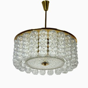 Large Brass and Glass Ceiling Lamp, 1960s