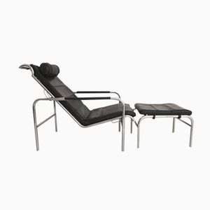 Italian Genni Lounge Chair with Stool by Gabriele Mucchi for Zanotta, 1935