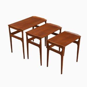 Tavolini a incastro Mid-Century in teak di Heltborg Møbler per Domus Danica, Danimarca, anni '60