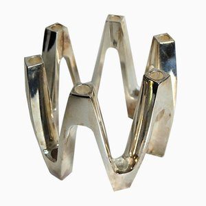 Portacandele Crown vintage placcato in argento di Jens Harald Quistgaard per Dansk Design, Danimarca