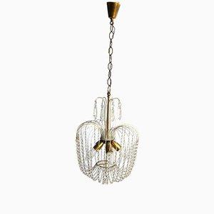 Lámpara de araña italiana vintage con cuentas de vidrio