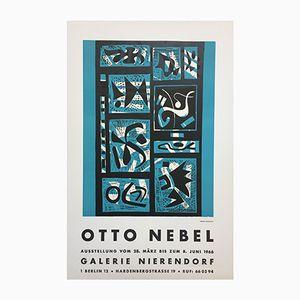 Poster pubblicitario vintage per la mostra di Otto Nobel alla Galerie Nierendorf Berlin, 1966