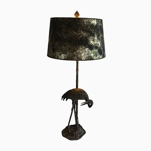 Vintage Black Metal Lamp with Bird Sculpture
