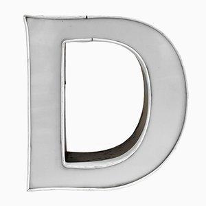 Lettre D Vintage Illuminée Blanche & Anthracite