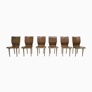 Mid-Century Italian Curved Wood Dining Chairs, 1950s, Set of 6