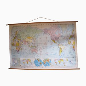 Mapa del mundo de escuela New World vintage grande