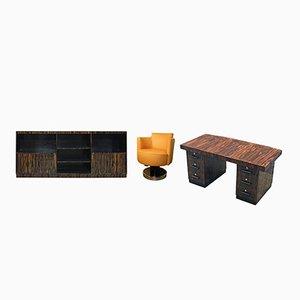 Schreibtisch, Bücherregal und Sessel Set von Maurice Alet, 1930