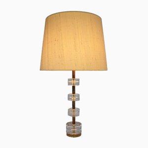 Lámpara de mesa vintage de vidrio y latón de Luxus
