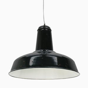 Large Vintage Industrial Black Enameled Pendant Light