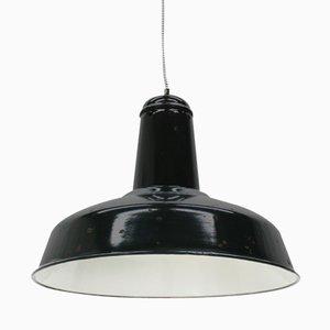 Large Vintage Industrial Black Enameled Pendant Light