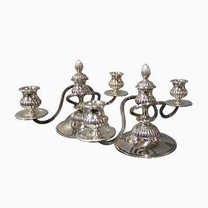Dänische Zweiarmige Kerzenständer aus Silber von Anton Michelsen, 1930, 2er Set
