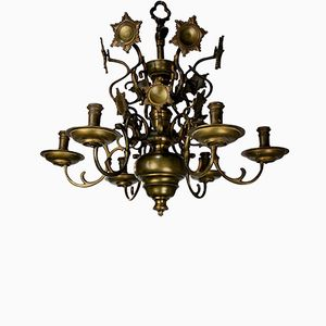 Antique Flemish Brass Chandelier, 1840s