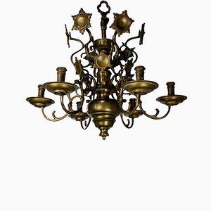 Lampadario antico fiammingo in ottone, metà XIX secolo