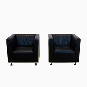 Leather & Aluminium Armchairs by Kunihide Oshinomi for Matteo Grassi, Set of 2