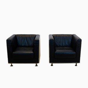 Vintage Leder & Aluminium Sessel von Kunihide Oshinomi für Matteo Grassi, 2er Set