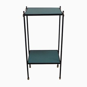 French Black Wrought Iron, Brass, & Skai Side Table, 1950s