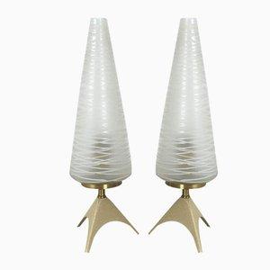 Dreifuß Tischlampen aus Glas, 1950er, 2er Set