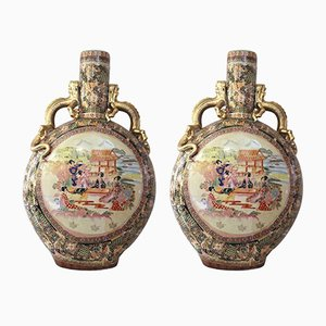 Chinese Satsuma Ceramic Vases, Set of 2
