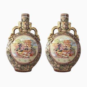 Jarrones chinos de cerámica Satsuma. Juego de 2