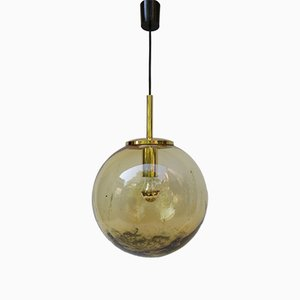 Vintage Italian Yellow Glass Ball Pendant Light