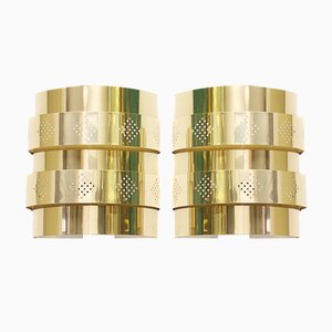 Vintage Brass Sconces by Werner Schou for Coronell, Set of 2