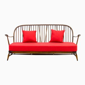 Red Windsor Three-Seater Sofa from Ercol, 1950s