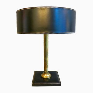 Vintage French Leather & Brass Table Lamp by Jacques Adnet