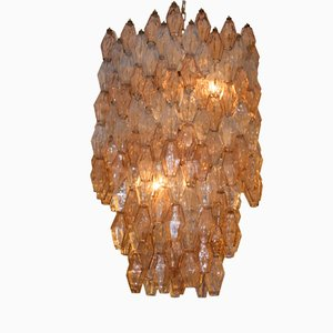 Lámpara de techo Poliedri italiana hexagonal grande de Carlo Scarpa para Venini