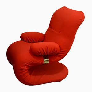 Italian Red Armchair with Chromed Details, 1970s