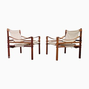 Easy Chairs Sirocco Crème de Arne Norell, Suède, 1960s, Set de 2