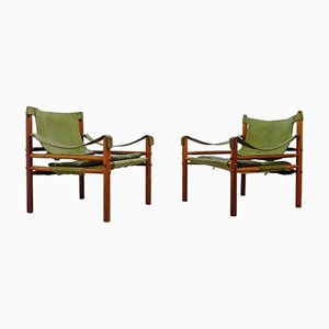 Swedish Sirocco Brown & Green Easy Chairs from Arne Norell, Set of 2