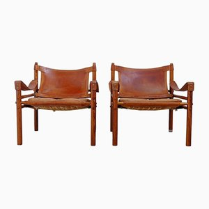 Easy Chairs Sirocco Marron de Arne Norell, Suède, 1960s, Set de 2
