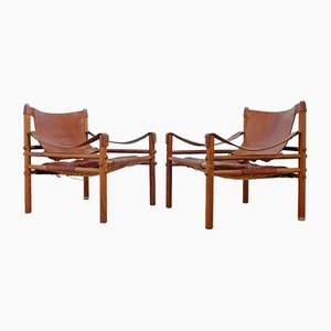 Vintage Swedish Sirocco Easy Chairs from Arne Norell, Set of 2