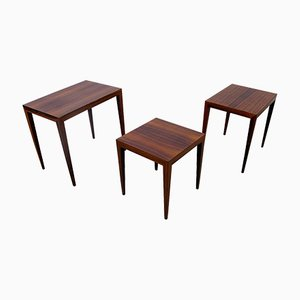 Vintage Danish Nesting Rosewood Tables by Severin Hansen