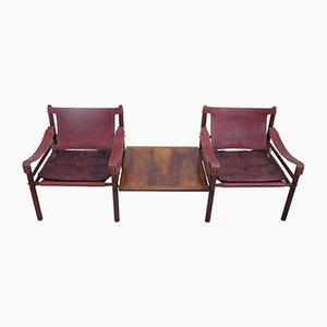 Safari Chairs Sirocco Vintage en Cuir et en Palissandre avec Table d'Appoint par Arne Norell, Suède