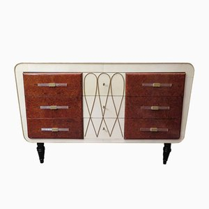 Art Deco Italian Parchment, Maple, & Brass Chest of Drawers,1940s