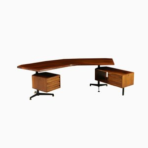 Vintage Rosewood Veneer & Lacquered Metal Desk with Swiveling Chest of Drawers by Osvaldo Borsani