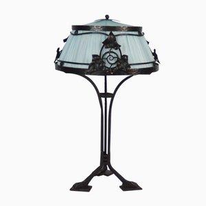 Lámpara de mesa francesa de hierro forjado, años 10