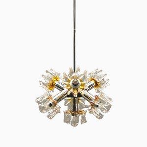 Lámpara Sputnik de cristal de Murano y metal cromado de Mazzega, años 70