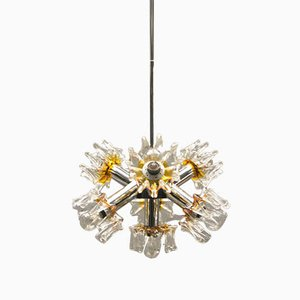 Murano Glas & Chrom Sputnik Lampe von Mazzega, 1970er