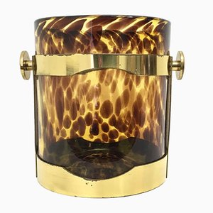 Blown Murano Glass and Brass Ice Bucket, 1970s